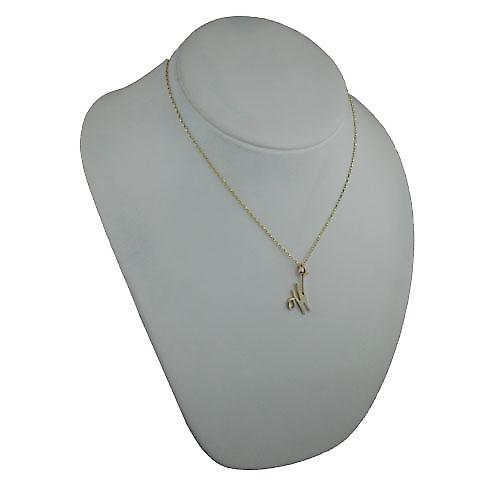 9ct Gold 28x21mm plain Initial W Pendant with a belcher chain