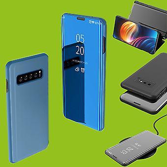 Samsung Galaxy S10 pluss G975F 6.4 tommers klar utsikt speil speil smart dekke Blau bag hylse våkner