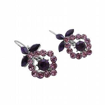 Vintage Sparkling Light & Dark Crystals Amethyst Earrings