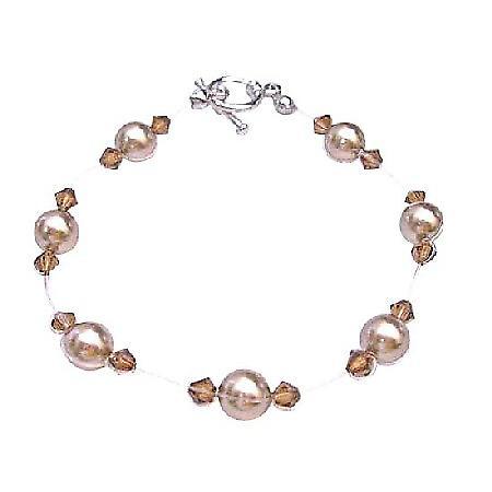 Classy Wedding Jewelry Swarovski Bronze Pearls & Smoked Topaz Crystals