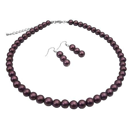 Burgundy Purple Synthetic Pearls Wedding Bridal Jewelry Necklace Set