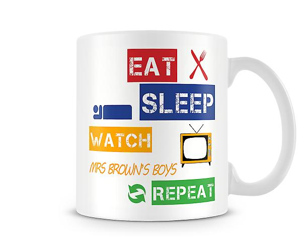 Eat, Sleep, Watch Mrs Brown's Boys, Repeat Printed Mug