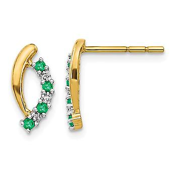 1/7 Carat (ctw) Natural Green Emerald Post Earrings in 14K Yellow Gold