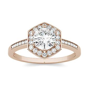 14K Rose Gold Moissanite by Charles & Colvard 6mm Round Engagement Ring, 1.10cttw DEW