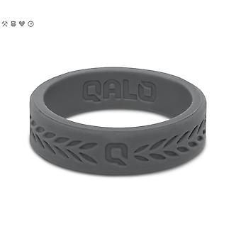 Qalo Womens Laurel Q2X Silicone Ring with Carrying Case - Smoke Gray