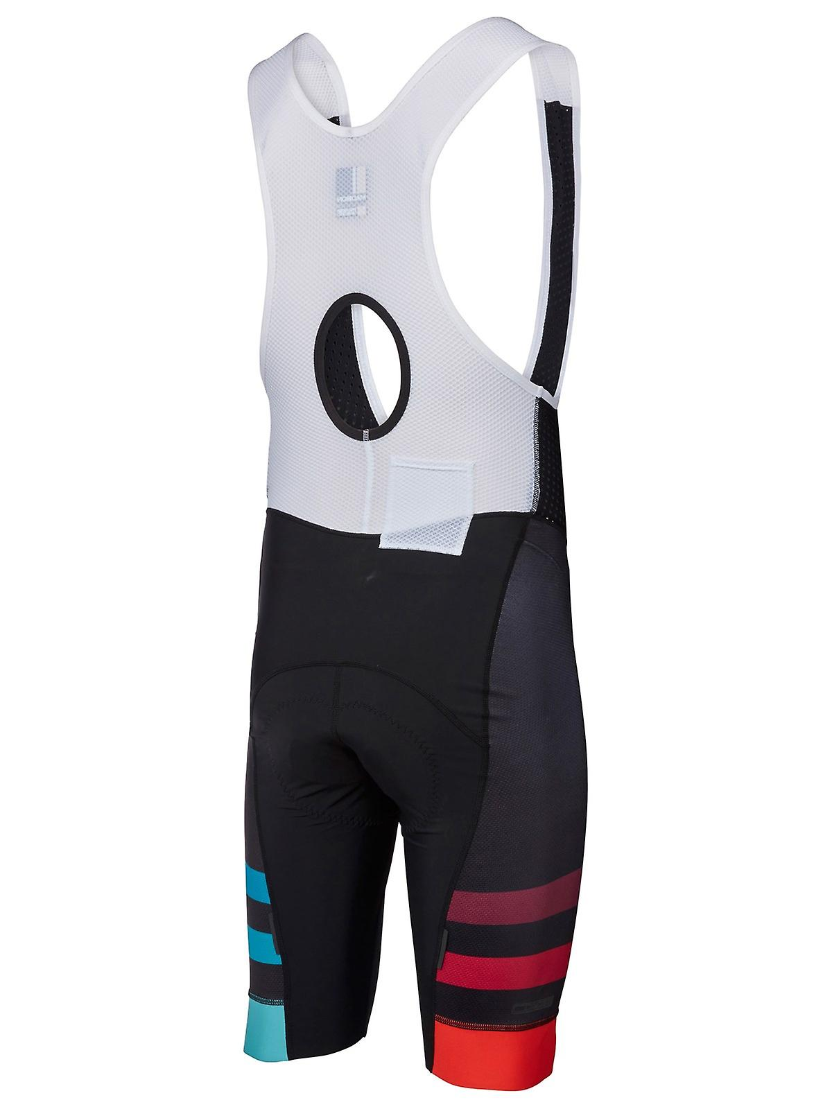Madison Black-Red-Blue Stripes Roadrace Premio Bib Shorts