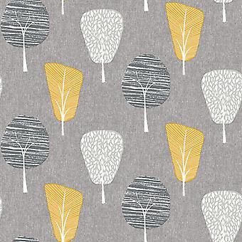 Retro gris jaune papier peint forêt Floral botanique Arthouse bois ocre