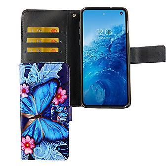 Housse de protection boîtier mobile de Samsung Galaxy S10e poche Flip case avec papillon bleu le titulaire de carte