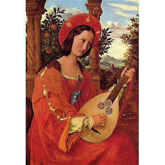 Portrett av Clara Bianca, Julius Schnorr von Carolsfeld, 37x26cm
