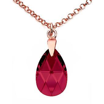 Ah! Bijoux Rose or sur argent Sterling cristaux rubis du collier Swarovski poire
