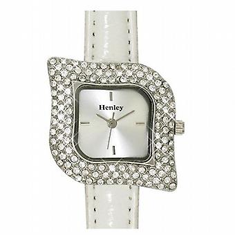 Henley Glamour Ladies Leaf White Strap Fashion Watch H06008.1