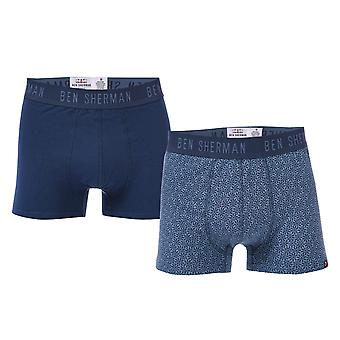 Mens Ben Sherman Easton 2 Pack Boxer Shorts In Navy- One Pair Plain, One Pair