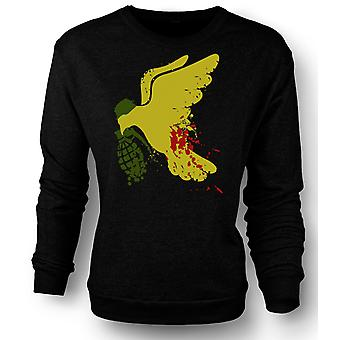 Mens Sweatshirt fred ikke krig Dove Grenade - morsomt