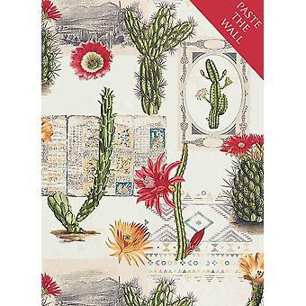 México floral cactus Wallpaper flores crema verde rojo etno pasta vinilo pared