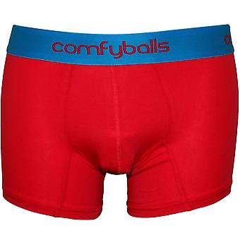 Comfyballs Cotton Stretch Boxer Trunk, Raspberry Red / Hawaii Blue