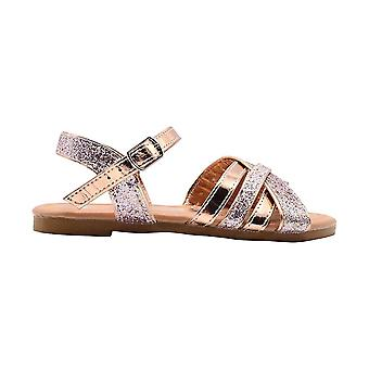 bebe Girls Fashion Sandals Little Kid Multi Strap Summer Flats With Glitter