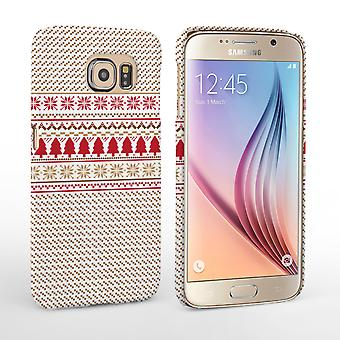 Caseflex Samsung Galaxy S6 Christmas Knitted Snowflake Jumper Hard Case Brown Red White