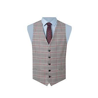 Dobell Mens Waistcoat Regolare Fit Principe di Galles Red Overcheck