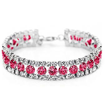 14K Gold Plated Red Cubic Zirconia Tennis Bracelet, 15cm