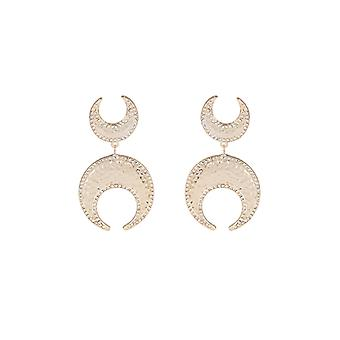 Louche Megan Gold And Silver Moon Earrings
