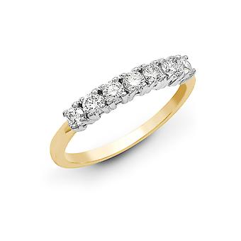 Jewelco London solid 18ct 2 farge gull 4 Claw Round G SI1 2ct diamant 7 Stone Eternity Ring 4mm