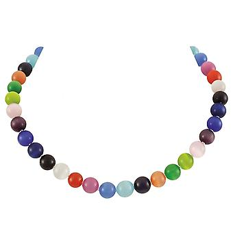 Eternal Collection Melody Multicoloured Cats Eye Beaded Silver Tone Necklace