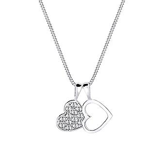 Elli Women's Necklace in Silver 925 with Heart Shape Pendant - White Crystals with Brilliant Cut