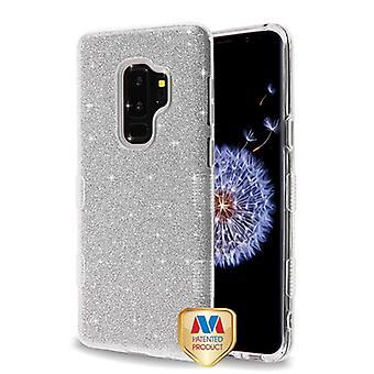 MYBAT Silver Full Glitter TUFF Hybrid Case for Galaxy S9 Plus