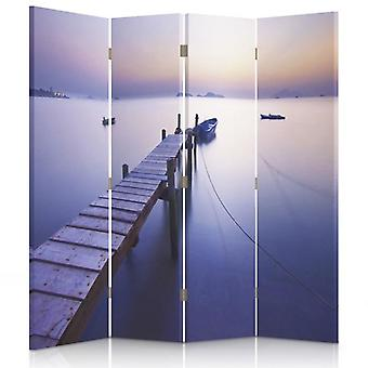 Room Divider, 4 Panels, Double-Sided, 360 ° Rotatable, Canvas, Sunrise Along The Coast