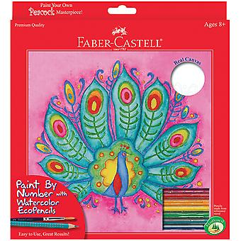 Watercolor Paint By Number Kit with Ecopencils Peacock 14556Ck