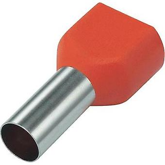 Twin ferrule 10 mm² 14 mm Partially insulated Red Conrad Components 93015c67 100 pc(s)