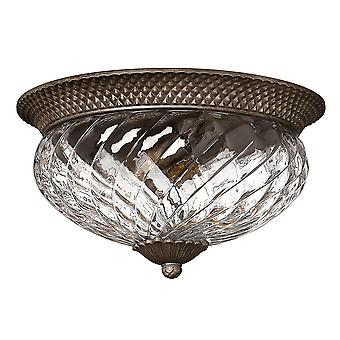 Plantation Traditional Flush Ceiling Light with Clear Optic Glass