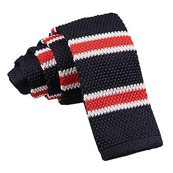 Men's Knitted Navy White with Red Thin Stripe Tie
