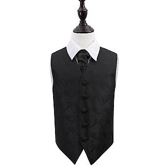 Boy's Black Paisley Patterned Wedding Waistcoat & Cravat Set
