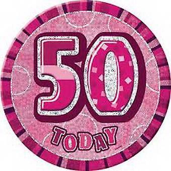 50TH BIRTHDAY PINK BADGE