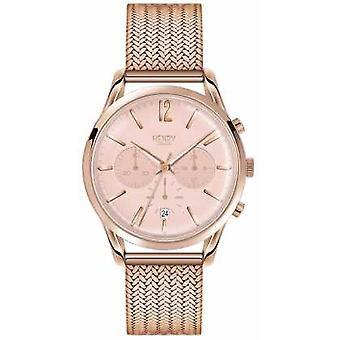 Henry Londres Womans Rose or chronographe cadran Rose or plaqué montre HL39-CM-0168 maille
