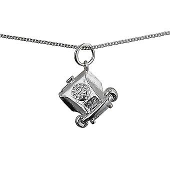 Silver 12x13mm solid Telephone Pendant with a curb Chain 16 inches Only Suitable for Children