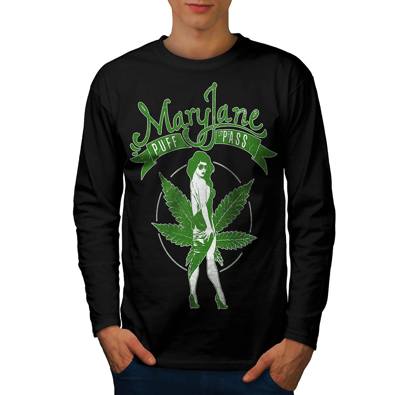Weed Puff Pass Dope Mary Jane Men Black Long Sleeve T-shirt | Wellcoda