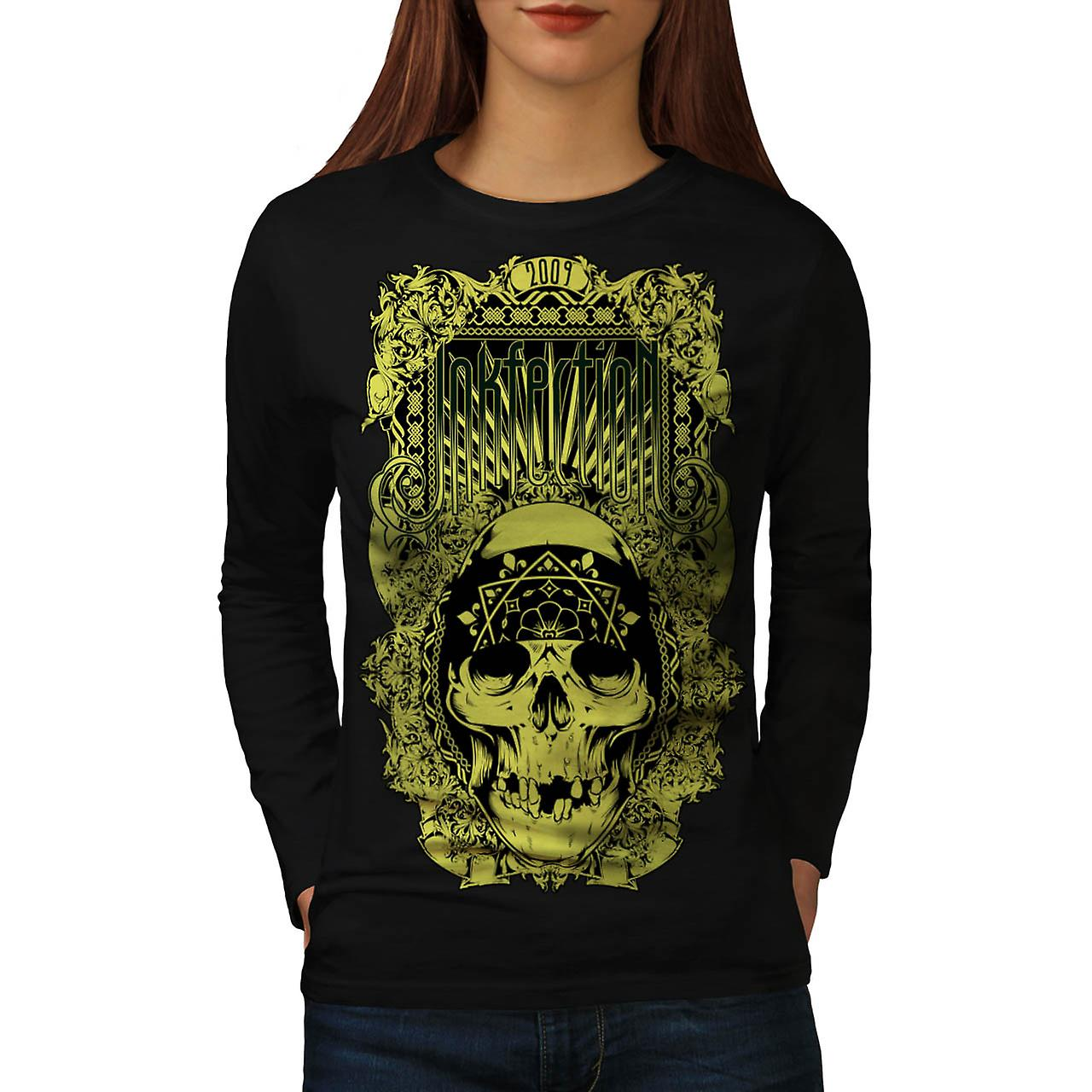 Ink Infection Tattoo Dead Pirate Women Black Long Sleeve T-shirt | Wellcoda