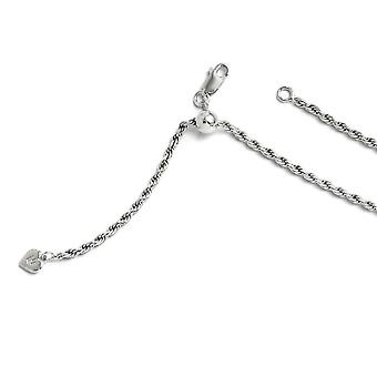 2.25mm Sterling Silver Polished Sparkle-Cut Rhodium-plated Lobster Claw Closure Adjustable Rope Chain Necklace - Length: