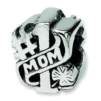 Sterling Silver Antique finish Reflections Number 1 Mom Bead Charm