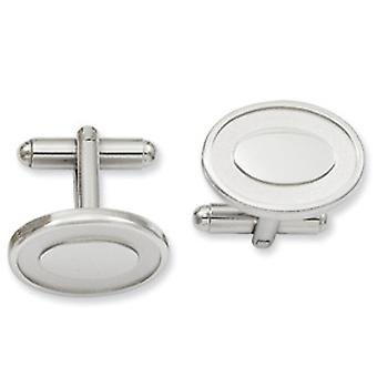 Rhodium-plated Oval with Engraveable Area Cuff Links