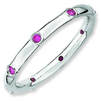 Sterling Silver Stackable Expressions Created Ruby Ring - Ring Size: 5 to 10