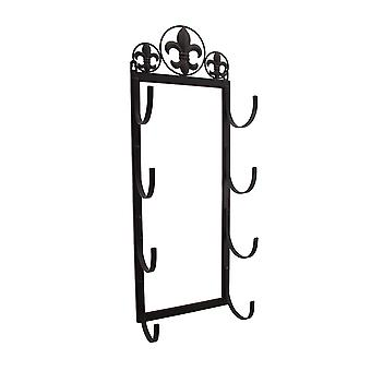 Brown Enamel Fleur de Lis 4 Position Rolled Towel / Wine Rack