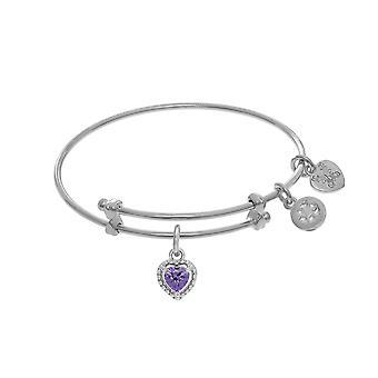 February Heart Shape CZ Birthstone Charm Expandable Tween Bangle Bracelet
