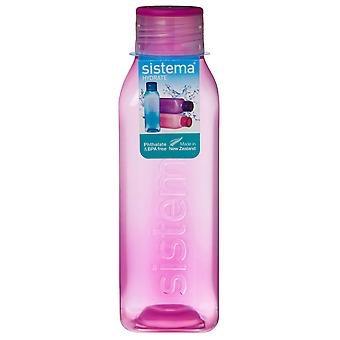 Sistema Hydrate 725ml Square Drink Bottle, Pink