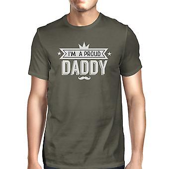 Jestem dumny tatuś męskie ciemny szary Design śmieszne Tee tata idealne prezenty