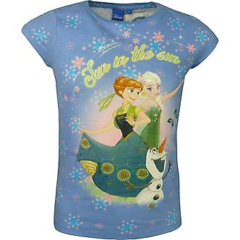 Mädchen Disney Gefrorene Elsa & Anna kurze Ärmel Spitze