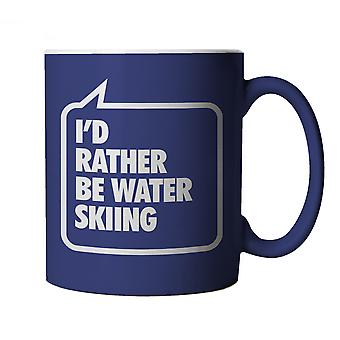 Vectorbomb, I'd Rather be Water Skiing, Funny Blue Novelty Mug
