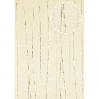 COL-567-3 non-woven wallpaper smooth lustrous design stripes wallpaper Atlas cream creamy white beige grey 5.33 m2